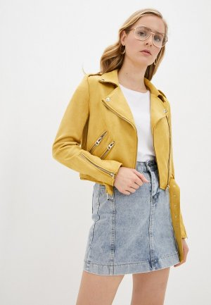 Куртка кожаная Shelter. Цвет: желтый