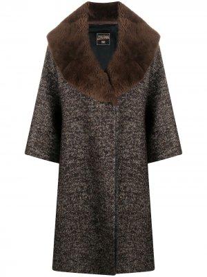 Пальто с лацканами из искусственного меха Jean Paul Gaultier Pre-Owned. Цвет: коричневый