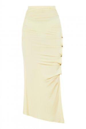 Желтая асимметричная юбка Acne Studios. Цвет: желтый