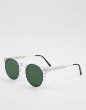 Солнцезащитные очки унисекс в круглой прозрачной оправе с зелеными линзами Post Punk-Прозрачный Spitfire
