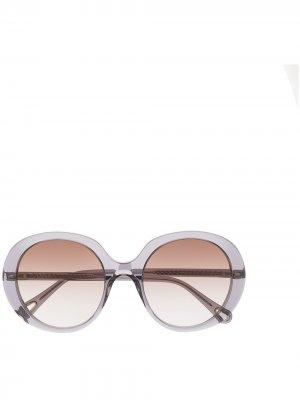 Массивные солнцезащитные очки Chloé Eyewear. Цвет: черный