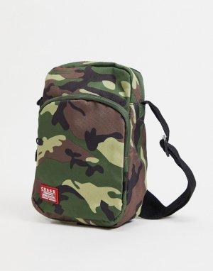 Дорожная сумка с камуфляжным принтом -Зеленый цвет Crosshatch
