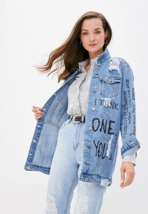 Куртка джинсовая Chic & Charisma. Цвет: голубой