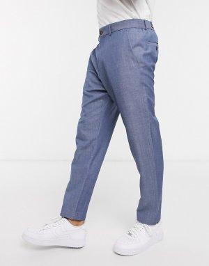 Синие льняные укороченные брюки -Голубой Esprit