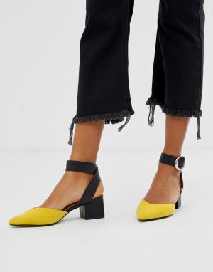 Туфли на блочном каблуке средней высоты с острым носком -Желтый Blink