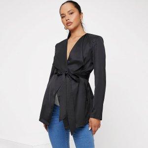 С поясом Одноцветный Элегантный Пальто и куртки для беременных SHEIN. Цвет: чёрный