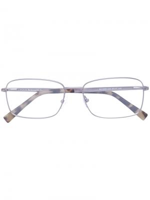 Очки для зрения в прямоугольной оправе Ermenegildo Zegna. Цвет: серый