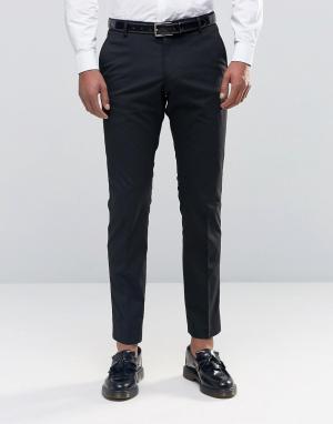 Стретчевые брюки зауженного кроя для смокинга Selected Homme. Цвет: черный