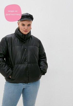 Куртка кожаная Vero Moda Curve. Цвет: черный