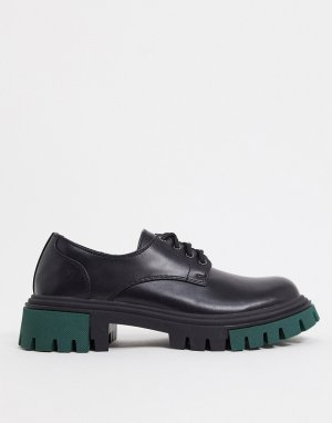 Черные броги на массивной подошве с зелеными вставками -Черный Koi Footwear