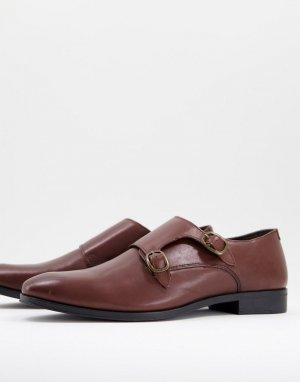 Коричневые кожаные туфли-монки -Коричневый цвет ASOS DESIGN
