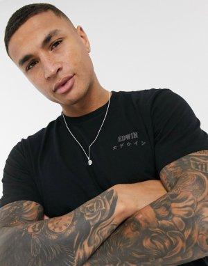 Черная футболка с логотипом на груди -Черный цвет Edwin
