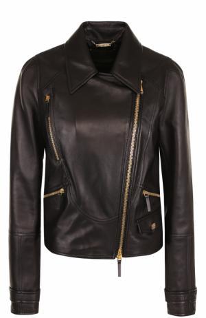 Кожаная куртка с отложным воротником и косой молнией Roberto Cavalli. Цвет: черный