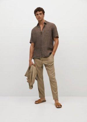 Рубашка 100% лен с короткими рукавами - Ants Mango. Цвет: коричневый