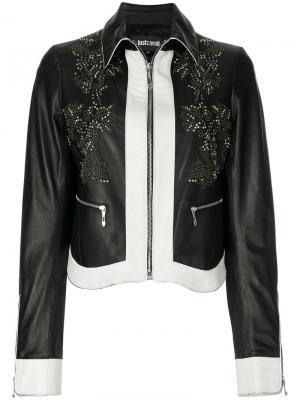 Кожаная куртка с заклепками Just Cavalli. Цвет: чёрный