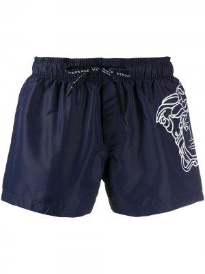 Плавки-шорты с принтом Medusa Versace. Цвет: синий