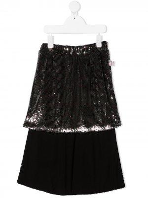 Многослойная юбка с пайетками Nº21 Kids. Цвет: серебристый