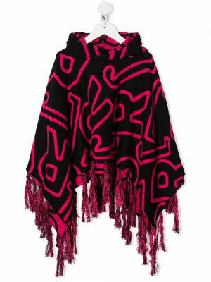 Monogram-patterned cape hoodie John Richmond Junior. Цвет: черный