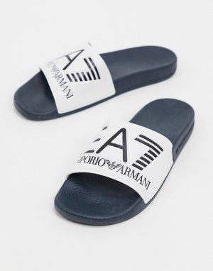 Шлепанцы белого/темно-синего цвета с логотипом Armani -Белый EA7
