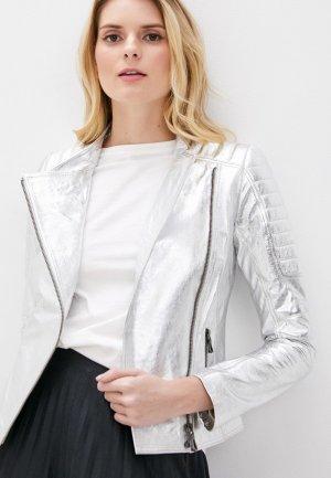 Куртка кожаная Giorgio Di Mare. Цвет: серебряный