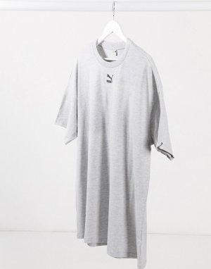 Серое платье-футболка с логотипом -Серый Puma