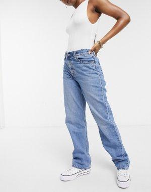 Средне-выбеленные джинсы прямого кроя с высокой посадкой Levis-Голубой Levi's