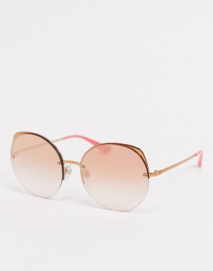Круглые солнцезащитные очки розового цвета Vogue-Розовый Versace