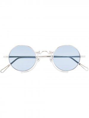 Солнцезащитные очки в круглой оправе Matsuda. Цвет: синий
