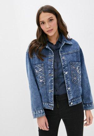 Куртка джинсовая Bad Queen. Цвет: синий