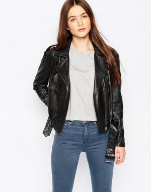 Кожаная байкерская куртка Marino Muubaa. Цвет: черный