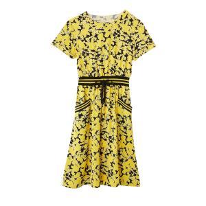 Платье с цветочным рисунком и поясом в спортивном стиле LA REDOUTE COLLECTIONS. Цвет: рисунок/фон темно-синий