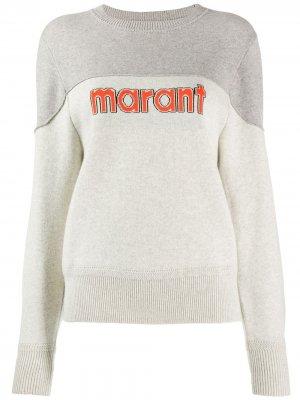 Двухцветный пуловер Isabel Marant Étoile. Цвет: серый