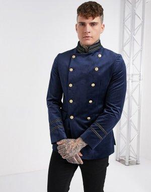 Двубортный бархатный пиджак скинни в стиле милитари с воротником-стойкой -Темно-синий Devils Advocate