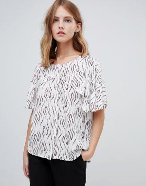 Блузка с принтом и рукавами-кейп -Мульти Ichi