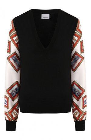 Пуловер из смеси шерсти и шелка Burberry. Цвет: черный
