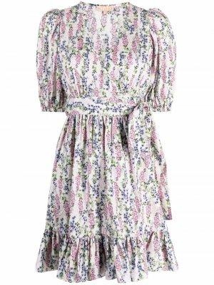 Платье с запахом и цветочным принтом byTiMo. Цвет: нейтральные цвета