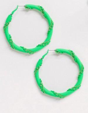 Кислотно-зеленые серьги-кольца со стразами и цепочками ASOS DESIGN-Зеленый