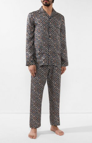 Шелковая пижама Ermenegildo Zegna. Цвет: разноцветный