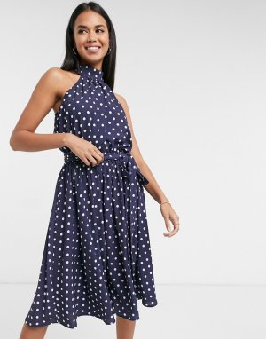 Темно-синее платье в горошек -Темно-синий Goddiva