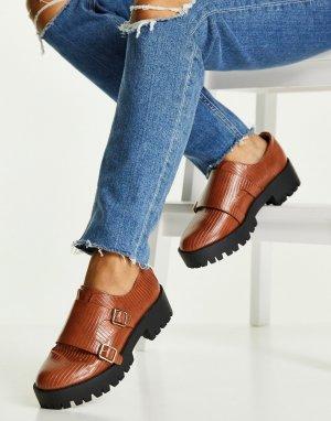 Светло-коричневые массивные туфли-монки с отделкой под кожу ящерицы Misty-Коричневый цвет ASOS DESIGN