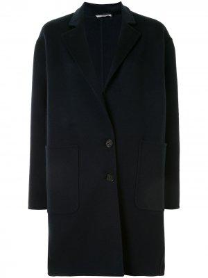 Однобортное пальто-кокон Colombo. Цвет: синий