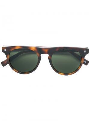 Солнцезащитные очки в квадратной оправе с эффектом черепашьего панциря Ermenegildo Zegna. Цвет: коричневый