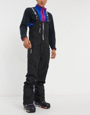 Черные горнолыжные брюки с подтяжками Blackjack 10k-10k-Черный Surfanic