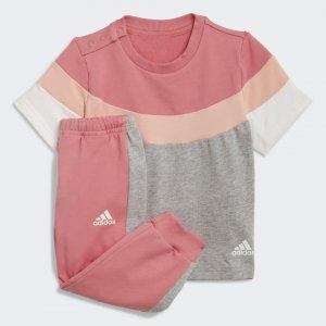 Комплект: брюки и футболка Summer Performance adidas. Цвет: розовый