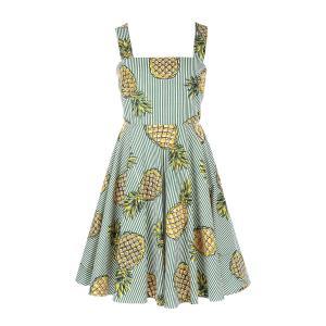 Платье расклешенное с цветочным рисунком DERHY. Цвет: в полоску зеленый/белый