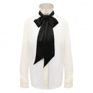 Шелковая блузка Ralph Lauren. Цвет: бежевый