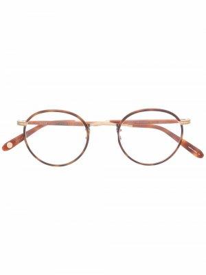 Очки Wilson 46 в круглой оправе черепаховой расцветки Garrett Leight. Цвет: коричневый