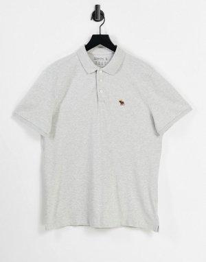 Серое меланжевое поло из пике с логотипом в 3D -Серый Abercrombie & Fitch