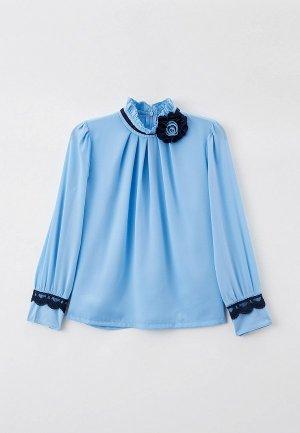 Блуза Соль&Перец с брошью. Цвет: голубой