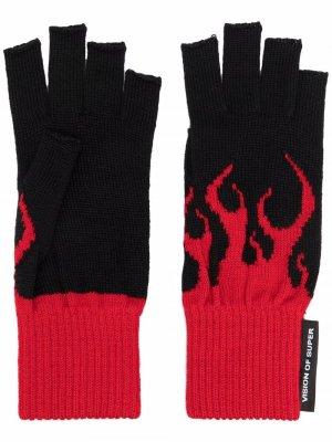 Перчатки-митенки с принтом Vision Of Super. Цвет: черный